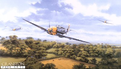 DHM872.  Fighter General by Graeme Lothian. <p>Fighter general shows Dolfo Galland leading a schwarm of BF109s out low at tree top height over the Kent countryside after doing battle with spitfires, during the last week of August 1940. This remarkable pilot was awarded the Knights Cross as a Major on the 15th August. His daring and leadership won the hearts of his men and respect from RAF Pilots. The Oak leaves was awarded on the 23rd September 1940 and crossed Swords in June 1941 after 69 victories.  At the end of 1941 at age only 29 he was promoted Inspector General of the Fighter Arm. Leaving his post as Kommodore JG26 to Gerhard Schoepfel he was awarded the Diamonds to the Knights Cross in January 1942 at Oberst. As the youngest General in the German High Command he held this post until 1944, after open disagreements with Goring let to his dismissal. Reverting to combat flying he formed, with Steinhoff, the legendary JV-44, flying the ME262 jet fighter. His score by wars end stood at 104 all on the western Front. he was the only General to lead a squadron into battle.<b><p>Signed by General Walter Krupinski (deceased), <br>Major Erich Rudorffer (deceased), <br>Major Gerhard Schopfel (deceased), <br>Major Heinz Lange (deceased), <br>Oberfeldwebel Heinz Marquardt (deceased), <br>Captain Ernst-Wilhelm Reinert (deceased), <br>Leutnant Fritz Tegtmeier (deceased) <br>and <br>Oberleutenant Peter Duttman (deceased). <p>Signed limited edition of 500 prints.  <p>Image size 28 inches x 17 inches (71cm x 43cm)
