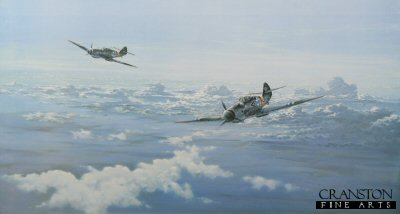 DHM873. Eagles Over the Steppe by Graeme Lothian. <p>  Depicting ME109s flying over the Russian Front, the background is the enormous panorama of the Russian Steppe.  The enormity of the battlefield on the Eastern Front was staggering in its vastness, stretching, as it did, nearly two thousand miles from frozen wastelands of the Arctic in the north, to the Black Sea in the south. Over this hostile, formidable territory fighter pilots of the Luftwaffe flew more combat missions and shot down more enemy aircraft during World War Two than any other group of fighter pilots in the entire history of aerial combat. Many of the top aces were in battle from the Spanish Civil War in 1938 until the fall of Germany in 1945. They flew continuously day after day, sometimes in the most appalling weather conditions, until they were shot down or wounded. Graeme Lothians emotive print pays tribute to the Fighter Aces of the Eastern Front. In the background is the enormous panorama of the Russian Steppe. Gunther Rall is seen leading his pilots over enemy territory.  <b><p> Signed by Generalleutenant Gunther Rall (deceased), <br>Generalleutenant Walter Krupinski (deceased), <br>Oberleutenant Peter Duttman (deceased)<br> and <br>Oberleutenant Walter Wolfrum (deceased).<p>Signed limited edition of 1000 prints.  <p>Image size 29 inches x 15 inches (74cm x 38cm)