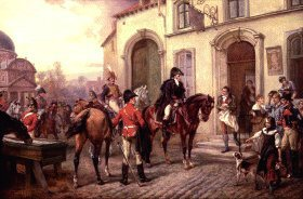Wellington at the Inn of Waterloo by Robert Hillingford (GS)