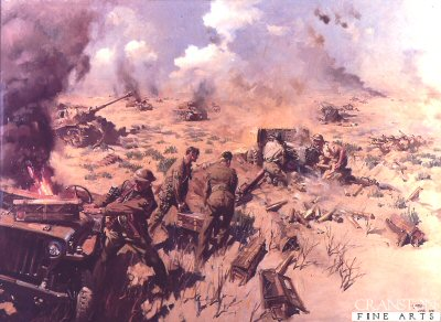 DHM882.  The Kidney Ridge action by Terence Cuneo.<p>Members of the 2nd battalion The Rifle Brigade and 239 Battery RA knocking out at least 32 enemy tanks during the desert campaign on 27th October 1942, Lieutenant VB Turner was awarded the Victoria Cross for this action.<b><p> Open edition print.  <p>Image size 25 inches x 16 inches (64cm x 41cm)