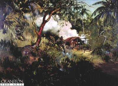 The Sunger Sekayan Action in Borneo by Terence Cuneo.