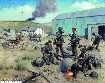 DHM885. Lull in the Battle by Terence Cuneo. <p> Depicting 3 Para with the Army Catering Corps at Port San Carlos, Falkland Islands, May 1982.  Although catering is its prime function, the ACC takes on many extra tasks on active service.  Terence Cuneos painting shows many of the duties the ACC undertook during the Falkland campaign.  They were stretcher bearers, and  Medical Assistants, helicopter marshalling and loading and manning weapon pits, storing weapons and ammunition and guarding prisoners and still having the evening meal ready on time. <b><p> Open edition print.  <p>Image size 25 inches x 16.5 inches (64cm x 42cm)