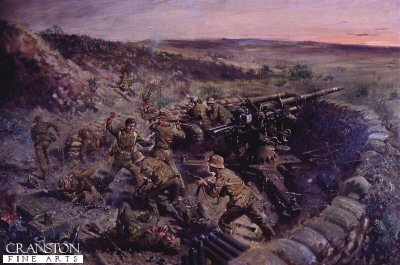 DHM888. Captain The Lord Lyall VC by Terence Cuneo. <p>  The action depicts at Djebel Bou Aoukaz, Tunisia, 27th April 1943. Depicting Lyall charging the German 88mm gun position single handed (one other supporting Guardsman had been shot and killed) With pistol in one hand and dirk in the other, Lyall leaped forward firing and slashing, Five men fell at his feet, before he was overpowered and hacked to death.  The scene was witnessed by a wounded Guardsman on the ridge. <b><p> Restricted print run of 1000 prints. <p> Image size 25 inches x 15 inches (64cm x 38cm)