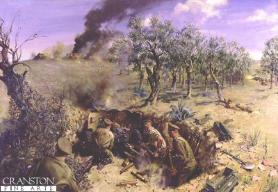 DHM893.  The Battle of Medenine, 6th march 1943, by Terence Cuneo. <p>The anti Tank guns of the Left Flank Company 2nd battalion Scots Guards, during the battle of Medenine, The scene depicts the moment when Lt F A L Waldrons Platoon knocked out three German tanks as they came over the crest of the ridge. <b><p> Restricted print run of 1000 prints. <p> Image size 25 inches x 15 inches (64cm x 38cm)