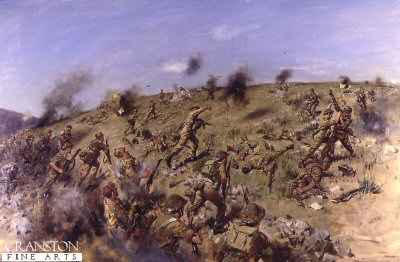 DHM894.  S Company Scots Guards in the battle of Monte Piccolo, Italy 28th May 1944. by Terence Cuneo. <p>S Company Scots Guards along with 3 Company Coldstream Guards, after heavy fighting, captures the hill from the German 1st Parachute regiment. <b><p> Restricted print run of 100 prints. <p> Image size 25 inches x 15 inches (64cm x 38cm)