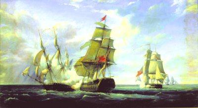 Combat Between HMS Tremendous and Connoniere, 21st April 1806 by Julien Pierre Gilbert.