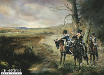 DHM898.  The Vedette of the 13th Light Dragoons by Chris Collingwood. <p>Scouts of the 13th Light Dragoons keep watch on the advancing French Army.<b><p>Signed limited edition of 1150 prints. <p> Image size 25 inches x 16 inches (64cm x 38cm)