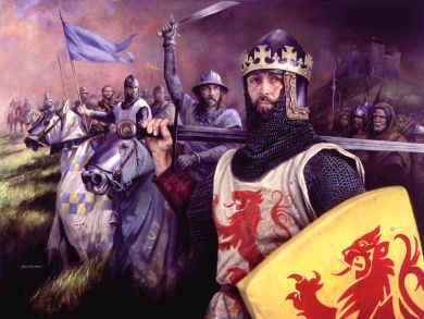 DHM900.  Robert the Bruce by Chris Collingwood. <p> In 1306 Robert the Bruce was crowned King of the Scots. In 1309 Bruce controlled most of Scotland north of the Firth and Clyde. Over the next few years Bruce conquered the English Garrisons of Perth, Dundee, Roxburgh, Dumfries and St. Andrews, leaving only Stirling in English hands. On 24th June 1314 Robert the Bruce defeated the English army at Bannockburn. The war dragged on until the peace treaty was signed in 1328, recognising Robert the Bruce as King Robert I of Scotland, and Scotland an independent Kingdom. He died the following year. <b><p> Signed limited edition of 1150 prints. <p> Image size 25 inches x 17 inches (64cm x 43cm)
