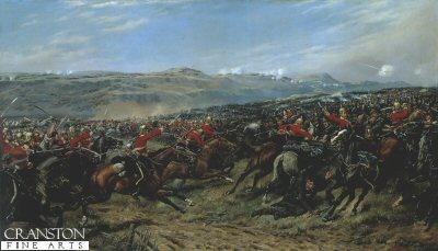 DHM9003.  Charge of the Heavy Brigade by J D Giles. <p>The Inniskilling Dragoons during the Charge of the Heavy Brigade during the Battle of Balaclava, Crimean War. (In the distance, the Scots Greys can also be seen in the charge) <b><p> Open edition print. <p> Image size 34 inches x 20 inches (86cm x 51cm)