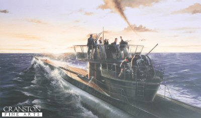 DHM9004.  U-269 by Ivan Berryman. <p> This limited edition print depicts the Type VIIC U-Boat U269 during an engagement in the English Channel with a B24 Liberator from 224 Squadron based at St Eval in Cornwall. <b><p> Limited edition of 500 prints.  <p>Image size 22 inches x 13 inches (56cm x 33cm)