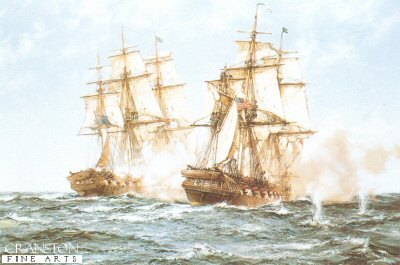 Java and Constitution by Montague Dawson.