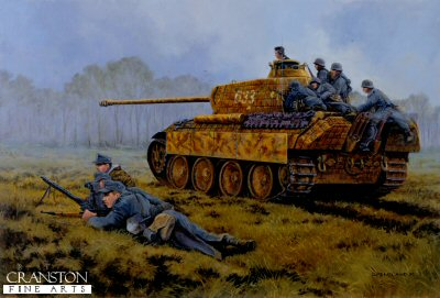 DHM954. Fight for Kowel, Poland, March/April 1944 by David Pentland. <p> Although in the process of regrouping after their escape from the Cherkassy Pocket, Panthers and Panzer Grenadiers of the crack 5th SS Panzer Division Wiking are part of the relief force hastily assembled and thrown in to free the strategically important city of Kowel in the Pripet Marshes. By April 10th the Soviet encirclement of the city was broken and Wiking were pulled out of the line to continue refitting. <b><p> Signed limited edition of 1150 prints.  <p>Image size 25 inches x 16.5 inches (64cm x 42cm)