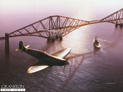 DHM0965APC. Land, Sea and Air by Ivan Berryman. <p> Spitfire of 761 Training Squadron (attached to the Royal Navy) flies over the Forth Railway Bridge on the eve of World War Two, also shown is HMS Royal Oak departing Rosyth for the open sea. <b><p>Signed by Wing Commander John Freeborn DFC* (deceased). <p> Freeborn signature edition of 10 prints from the edition of 50 artist proofs. <p> Image size 25 inches x 15 inches (64cm x 38cm)