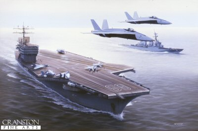 DHM986.  USS Dwight Eisenhower by Ivan Berryman. <p> A pair of F18 Hornets overfly the Nimitz-class carrier USS Dwight Eisenhower (CV-69) with the surface combatant USS Arleigh Burke (DDF-51) off her port bow. <b><p> Signed limited edition of 1150 prints. <p> Image size 25 inches x 15 inches (64cm x 38cm)