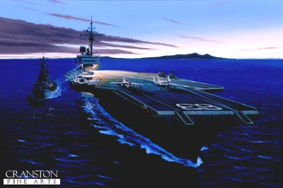 DHM988.  USS Kitty Hawk by Ivan Berryman. <p> USS Kitty Hawk (CV-63) refuels an Adams class Destroyer during a dusk operation off the Vietnam coast as a pair of E8 Crusaders are readied for launch on the forward catapults. <b><p> Signed limited edition of 1150 prints.  <p>Image size 25 inches x 15 inches (64cm x 38cm)