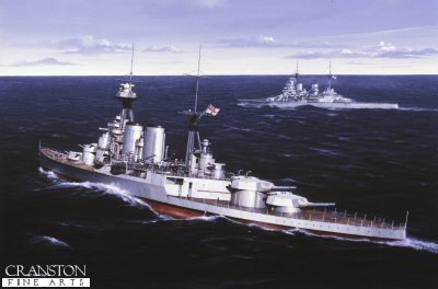 DHM989.  HMS Hood by Ivan Berryman. <p>Pride of the Royal Navy, the mighty Hood rolls majestically in the north Atlantic swell as HMS Prince of Wales holds station off her starboard bow. <b><p> Signed limited edition of 1150 prints.  <p>Image size 25 inches x 15 inches (64cm x 38cm)