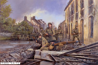 DHM996. Screaming Eagles in Normandy, 7th June 1944 by David Pentland <p> Having made contact the previous evening with troops of 4th Infantry Division pushing inland from Utah Beach, paratroopers of the 101st Airborne division The Screaming Eagles help mop up the pockets of German resistance in their general advance towards Carentan. <b><p> Signed limited edition of 1150 prints.  <p>Image size 25 inches x 16.5 inches (64cm x 42cm)