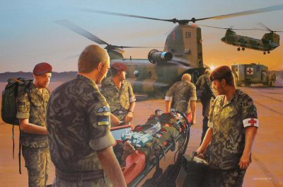 DHM9966. Dawn Casevac, 16 Close Support Medical Regiment - Iraq 2003 by Ivan Berryman. <p> To commemorate the first use of Factor VIIa by British Forces. <b><p> Signed limited edition of 1150 prints.  <p>Image size 25 inches x 15 inches (64cm x 38cm)