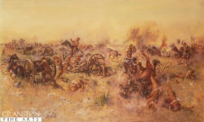 DHM999. Ambush at Sannas Post by Terence Cuneo. <p> Four VCs were awarded to Q battery for getting their guns into action against 1,000 Boers concealed behind a ridge, near Blomenfontein in 1900. <b><p> Open edition print. <p> Image size 25 inches x 16.5 inches (64cm x 42cm)