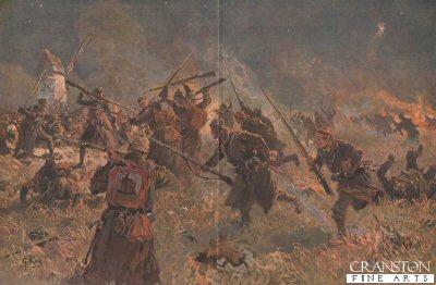 Nachtlicher Sturmangriff auf englische Schutzengraben an der Afer am 26 Oktober 1914 bei Langemarck.