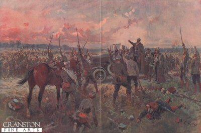 Befuch des Kaifers auf dem Schlachtfelde bei Dirton.