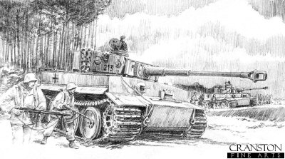 DP0110. Retaking Tirtsu by David Pentland. <p> Albert Kerscher and Otto Carius.  Narva Bridgehead, 18th March 1944 - 2nd Company, 502 Heavy Tank Battalion and Nordland Infantry. <b><p>Signed by <a href=signatures.php?Signature=1226>Albert Kerscher (deceased)</a>. <p>Signed limited edition of 30 prints.  <p> Image size 12 inches x 9 inches (31cm x 23cm)