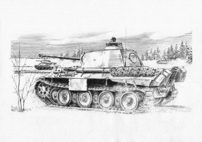 DP0127. Race to Frankowka, Ukraine, 10th February 1944 by David Pentland. <p> Panthers of 2nd Battalion 23rd Panzer Regiment, Heavy Tank Regiment Bake led by captured T34s race to capture a vital bridge at Frankowka across the Gniloi Tilitsch. The daring coup de main was successful bringing the relief column one step closer to the besieged pocket at Tscherkassy. <b><p>Signed by Sturmann Karl-Heinz Decker.<p>Signed limited edition of 35 prints.  <p> Image size 12 inches x 9 inches (31cm x 23cm)
