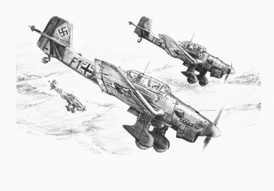 Stukas over England, South Coast, July 1940 by David Pentland.