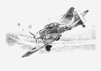 The Stukas Prey, Crete, May 1941 by David Pentland.