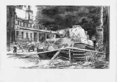 DP0132. Escape from Berlin. Germany 3.00 a.m, 2nd May 1945 by David Pentland. <p> Leading one of the last columns attempting to breakout from the doomed city, Georg Diers battered Kingtiger of SS Heavy Tank Battalion 503 smashed through the Soviet roadblock on the far side of the Weidenammer Bridge. <b><p>Signed by Sturmann Karl-Heinz Decker.<p>Signed limited edition of 35 prints.  <p> Image size 12 inches x 9 inches (31cm x 23cm)