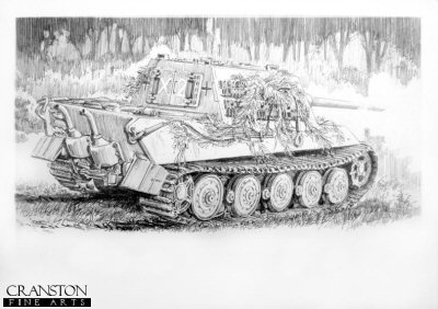Oberfahnrich Heinrich Rondorf - Jagdtiger at Bay�by David Pentland.