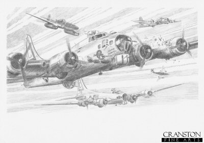 DP0183. Deadly Pass by David Pentland. <p>Magdeburg, Germany, 10th April 1945.  Attacking from behind and above, ObLt.Walter Schuck, Staffelkapitain of 3./JG7, ripped through the massed boxes of 8th Airforce B17s, downing four in a single high speed pass. <b><p>Signed by <a href=signature.php?Signature=225>Oberleutnant Walter Schuck (deceased)</a>. <p>Limited edition of 30 giclee art prints.  <p> Image size 12 inches x 8 inches (31cm x 21cm)