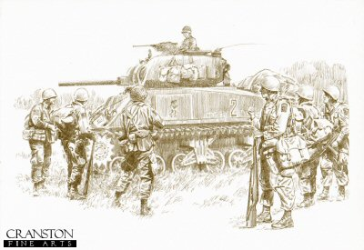 DP0207. Here Come the Cavalry by David Pentland. <p> St Mere Eglise, Normandy, 8th June 1944.  M4 Sherman tank of 70th tank battalion from   Utah  beach push inland to link up with U.S. Paratroops of the 505th PIR, 82nd <i>All American</i> Airborne Division. <p><b>Last 5 prints remaining of this edition!</b><b><p>Limited edition of 30 giclee art prints.  <p> Image size 12 inches x 8 inches (31cm x 21cm)