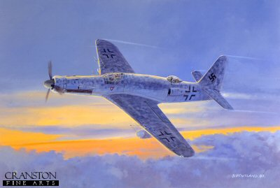 DP14. Dornier 435 by David Pentland <p> Projected nightfighter development of the Do335 with Jumo 222 engines and long span wings. <p>Printed on high quality artist paper board.<b><p> Signed limited edition of 500 prints.  <p>Image size 20 inches x 15 inches (51cm x 38cm)