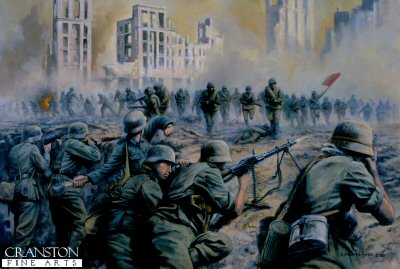 PDP26.  Valour of the Guards by David Pentland. <p>Soviet guards launch a Human Wave attack on beleaguered German defenders at Stalingrad, Autumn 1942.<b><p>Postcard<p> Postcard size 6 inches x 4 inches (15cm x 10cm)