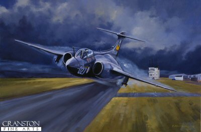 DP4. Buccaneer by David Pentland. <p> H.S. Buccaneer SB, of 809 Squadron Fleet Air Arm, takes off from Belfast RAF Sydenham in 1974. <b><p> Signed limited edition of 500 prints.  <p>Image size 20 inches x 13 inches (51cm x 33cm)
