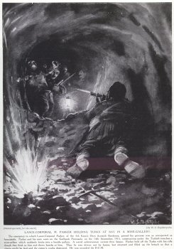 Lance-Corporal M. Parker Holding Turks At Bay In A Mine Gallery.