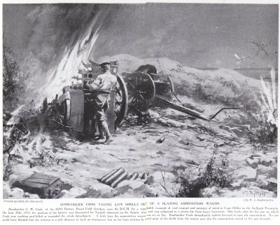 Bombardier Cook Taking Live Shells out of a Blazing Ammunition Wagon.