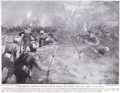 Lance-Corporal Colgrave Rallying Indian Troops And Leading Them Into Action At Hollebeke.