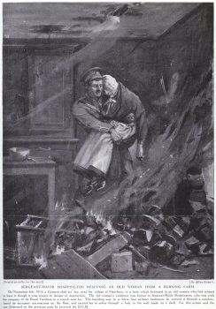 Sergeant-Major Sharpington Rescuing An Old Woman From A Burning Farm.