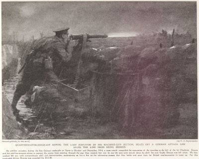 Quartermaster-Sergeant Downs, The Last Survivor Of His Machine Gun Section, Beats Off A German Attack And Saves The Line From Being Broken.