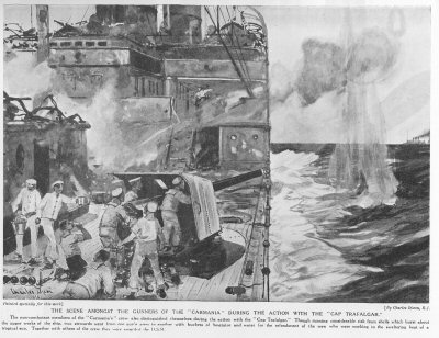 The Scene Amongst The Gunners Of The Carmania During The Action With The Cap Trafalgar.