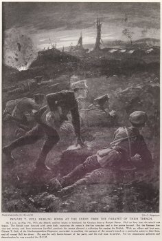 Private T. Bull Hurling Bombs At The Enemy From The Parapet Of Their Trench.