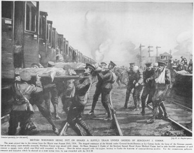 British Wounded Being Put On board A Supply Train Under Orders Of Sergeant J. Cooke.