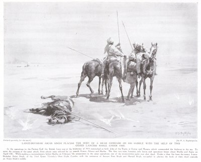 Lance-Dufadar Arjan Singh Placing the Body of a Dead Comrade on his Saddle with the Help of Two Other Lancers While Under Fire.