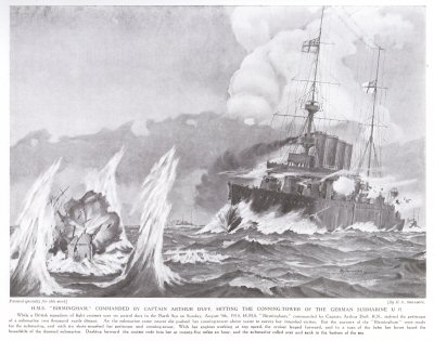 HMS Birmingham Commanded by Captain Arthur Duff, Hitting the Conning Tower of the German Submarine U15.
