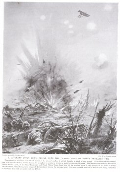 Lieutenant Swain Lewis Flying over the German Lines to Direct Artillery Fire.