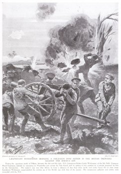 Lieutenant Withington Bringing a Field Gun into Action in the British Trenches Against the Enemys Sap.