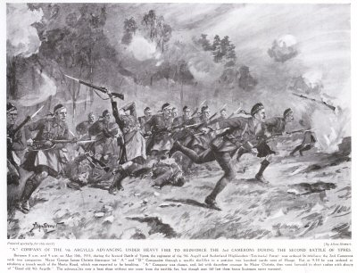 A Company of the 9th Argylls Advancing Under Heavy Fire to Reinforce the 2nd Camerons During the Second Battle of Ypres.