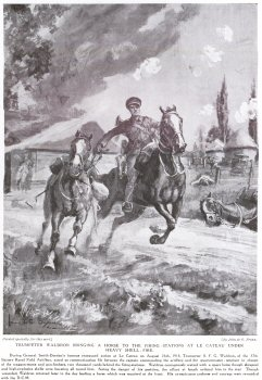 Trumpeter Waldon Bringing a Horse to the Firing Stations at Le Cateau Under Fire.